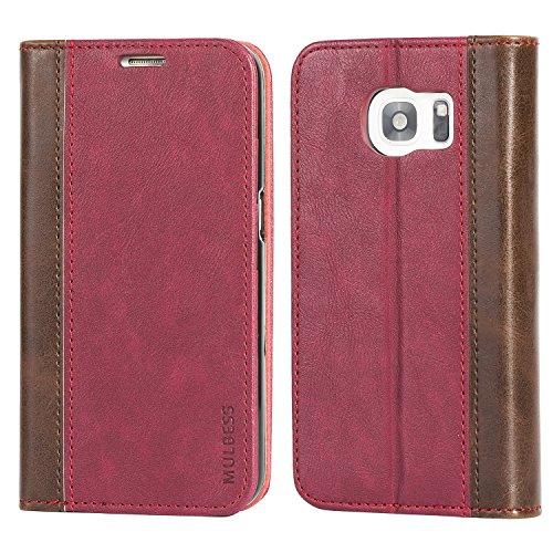 Mulbess BookStyle im Premium Handy Schutzhülle für Samsung Galaxy S7 Tasche Hülle Leder Flip Brieftasche Etui,Wein Rot