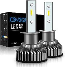 KOYOSO H1 LED Lampen 10000LM AutoLicht Scheinwerferlampe Birne, Ersatzlampen für Halogenlampen und Xenonlampe, 12V-24V, 6000K Weiß, 2 Glühbirnen