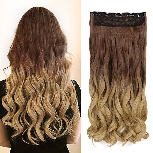 Neverland 24 pouces (60cm) de Full Clip Tête dans les extensions de cheveux ondules boucles Ombre dip-dye 30#/25#