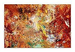 Wallario Herdabdeckplatte/Spritzschutz aus Glas, 2-teilig, 80x52cm, für Ceran- und Induktionsherde, Motiv Künstlerische Bunte Leinwand - Farbkleckse und Tupfer