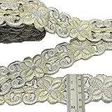 plata bordada ajuste de la cinta de artesanía floral 4,0 cm de ancho frontera sari por el patio
