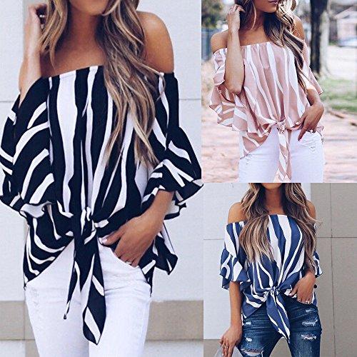 8f2b856d9 ❤️ Modaworld Moda Blusa de Hombro a Rayas Mujer Camisetas Casuales de Manga  Corta Tops Blusas de Fiesta Camisas de Vestir Mujer Elegantes Crop ...