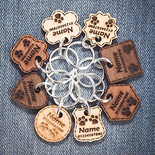 Hundemarke Anhänger fürs Halsband Personalisiert Holz Katze Haustier ID Graviert | 6 Massivholzarten | 8 Formen | 3 Größen | Dicke - 3mm/5mm ❤ -