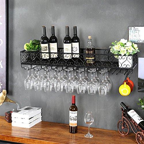 D_HOME An der Wand befestigte Metallwein-Zahnstange, europäische Eisen-Weinglas-hängende Zahnstange u. Halter (Farbe : SCHWARZ, größe : 120 * 25cm)