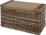 Wäschesortierer mit Sitzbank aus echtem Rattan / Wäschesammler mit 3 Fächern in der Farbe Zebra