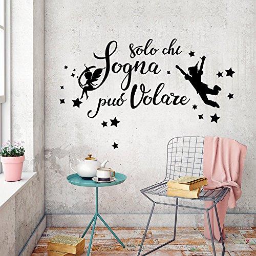 wall art 01421 Adesivo murale Aforisma - Solo Chi sogna - Misure 77x42 cm - Nero - Decorazione Parete, Adesivi per Muro, Carta da Parati