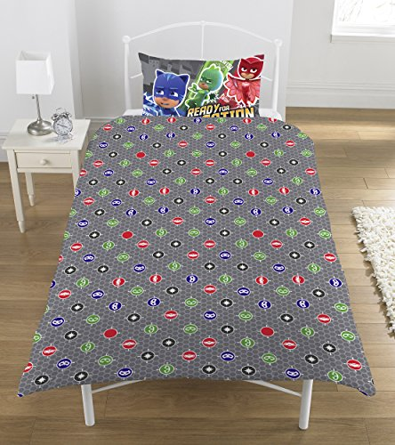 PJ Masks Comic Duvet Set, Polyester-Cotton, Multi-Colour, Single