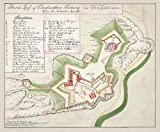 MAP 1759 UNKNOWN KRISTIANSTEN FORT TRONDHEIM PLAN REPLICA
