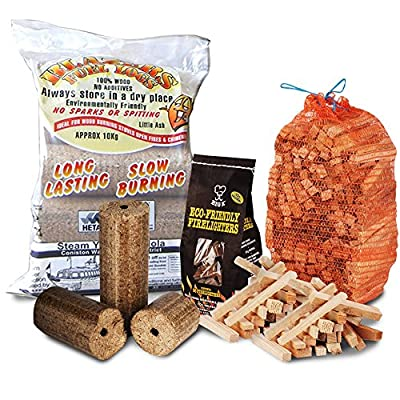 FIRE PIT CHIMINEA STARTER PACK Large Wood Heat Fuel Logs, 3kg Kindling + Eco FireLighters - Comes With TheChemicalHut® Anti-Bac Pen!