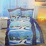 nxtbuy Thermofleece Winter Bettwäsche 3-teilig XXL 135 x 200 cm + 80 x 80 cm - Thermo-Bettwäsche Garnitur - Herrlich weich & flauschig & wärmend, Farbe:Blau