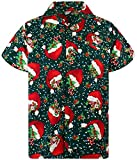 King Kameha Funky Chemise Hawaiana Noël, Christmas Flying Hats, Green, M