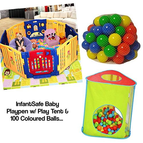 Plastic Baby Playpen 6-Panel Play Yard Perfect for Babies and Toddlers w//Soft Foam Non-Slip Revsible Playmat//International Delivery