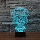 Creative Artistic 3D Totenkopf Nachtlicht Nachtlicht Illusion Lampe 7Farbe ändern LED Touch USB Tisch Geschenk Kinder Spielzeug Decor Dekorationen Weihnachten Geschenk zum Valentinstag