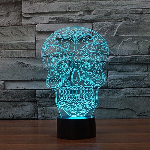 Schöne Schattierungen (Creative Artistic 3D Totenkopf Nachtlicht Nachtlicht Illusion Lampe 7Farbe ändern LED Touch USB Tisch Geschenk Kinder Spielzeug Decor Dekorationen Weihnachten Geschenk zum Valentinstag)
