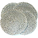Metallic Silver/Silver Effect Pack Of 4 Round Coasters (4in - 10cm Diameter Approx)