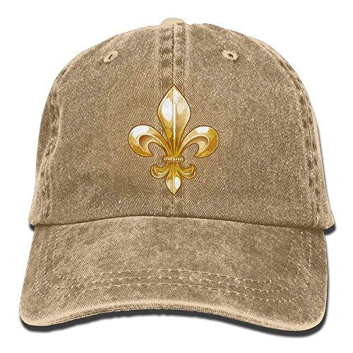 rongxincailiaoke Hüte,Kappen Mützen Fleur De Lis Unisex Adjustable Cotton Denim Hat Washed Retro Gym Hat Cap Hat -