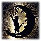 Mond Katze I Ein Lustiges Haustier Design Deko Schild mit LED Personalisiert für Kinder und Katzen Freunde