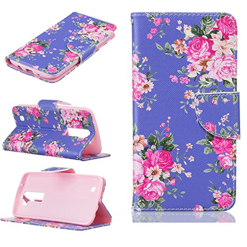 Ecoway Painting pattern PU Leather Stand Function Protective Cases Covers with Card Slot Holder Wallet Book Design Case for LG K8 - purple flower