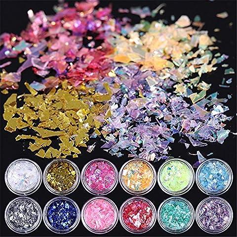 Born Pretty 12Farbe Iced Mylar Blatt Nail Art Glitter Powder Box (Glitter Blätter)