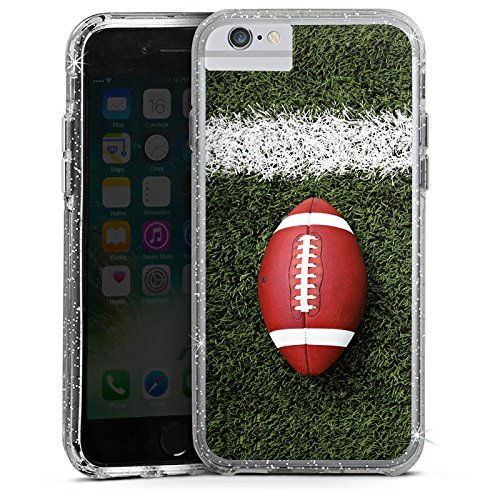 Apple iPhone X Bumper Hülle Bumper Case Glitzer Hülle Football Field Goal Sport Bumper Case Glitzer silber