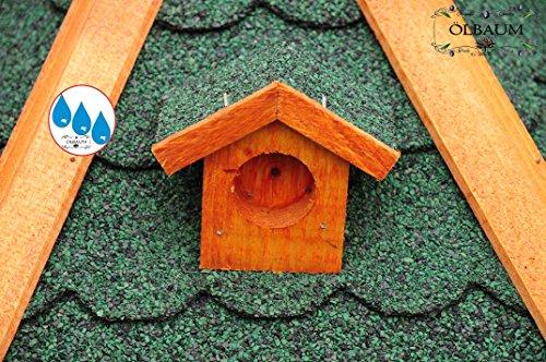 Vogelhaus XXL Premium, ca. 70-75 cm, wetterfest Massivdach, mit Silo / Futtersilo für Winterfütterung -Holz Nistkästen & Vogelhäuser- aus Holz BGX75grOS Holz ohne Ständer Vogel + Futterhaus GRÜN - 4