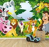 selbstklebende Fototapete - Kindertapete - Tiere Cartoon II - 300x230 cm - Tapete mit Kleber – Wandtapete – Poster – Dekoration – Wandbild – Wandposter – Wand – Fotofolie – Bild – Wandbilder - Wanddeko