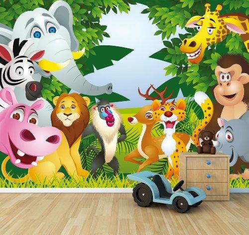 (selbstklebende Fototapete - Kindertapete - Tiere Cartoon II - 300x230 cm - Tapete mit Kleber – Wandtapete – Poster – Dekoration – Wandbild – Wandposter – Wand – Fotofolie – Bild – Wandbilder - Wanddeko)
