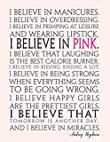 I believe in PINK, Mix 90P Dotted grid 20P Lined ruled, Women quote journal, 8.5x11 in, 110 undated pages,Audrey Hepburn: Quote journal to write in ... new ideas, special moments, or daily notes