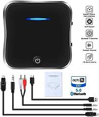 Bluetooth 5.0 Transmitter Sender Empfänger, Digital Optical TOSLINK und 3,5 mm Wireless Audio Adapter für TV / Home Stereo / Car Sound System aptX HD, aptX LL