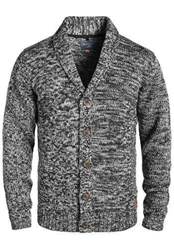 BLEND Tigre Herren Strickjacke Cardigan mit Schalkragen aus hochwertiger Baumwollmischung Meliert, Größe:M, Farbe:Black (70155)