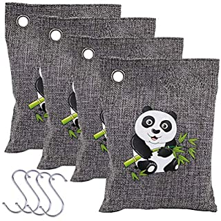 4-Piece Natural Bamboo Charcoal Air Purifying Bags, Absorb and Eliminate Odours in Car, Cupboard, Bathroom, Remove Musty and Damp Smell, 200g/bag, with 4 Hooks