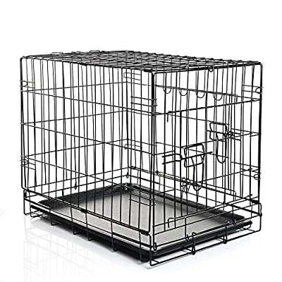 Folding Dog Cat Puppy Pet Metal Wire Cage Crate Carrier Playpen Travel Pen Black 24 - 48 Inches 5 Sizes