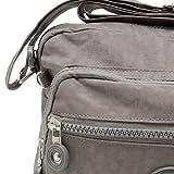 sportliche Handtasche / Schultertasche / Umhängetasche aus Nylon klein grau