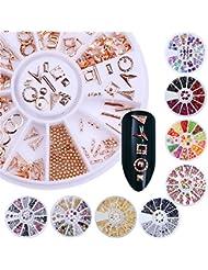 Born Pretty 9 Boxes Nail Art Decoration Wheel Set Rivet Fruit Crystal Rhinestone Mixed Size Flat Back 3D Manicure Accessories