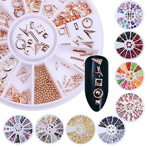 Born Pretty 9 Boxes Nail Art Decoration Wheel Set Rivet Fruit Crystal Rhinestone Mixed Size Flat Back 3D Manicure Accessories -
