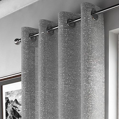 Mirabel - tenda a pannello con drappeggio in alto - attacco ad occhiello/asola - in retina di voile con glitter - grigio argento - l140 x lungh 274 cm
