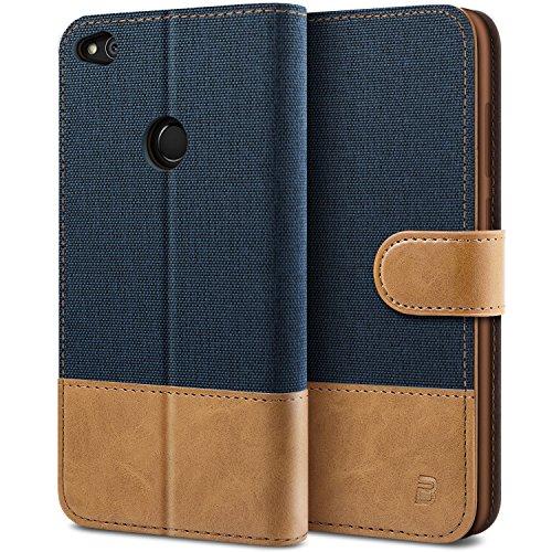 BEZ® Hülle für Huawei P8 Lite 2017 Hülle, Handyhülle Kompatibel für Huawei P8 Lite 2017, Handytasche Schutzhülle Tasche [Stoff und PU Leder] mit Kreditkartenhaltern, Blaue Marine
