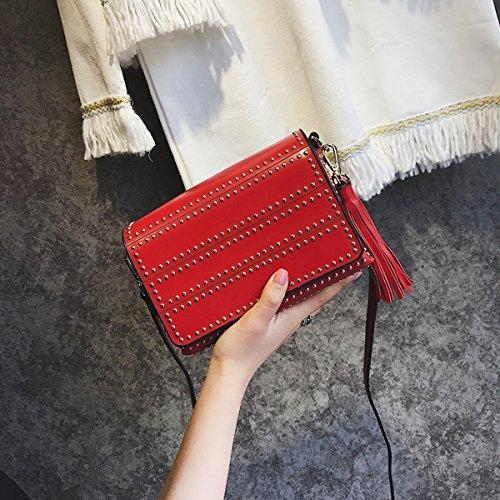 art und Weise Weibliche wilde handtaschenschulter Kurier Kurier einfache kleine quadratische tasche Rot