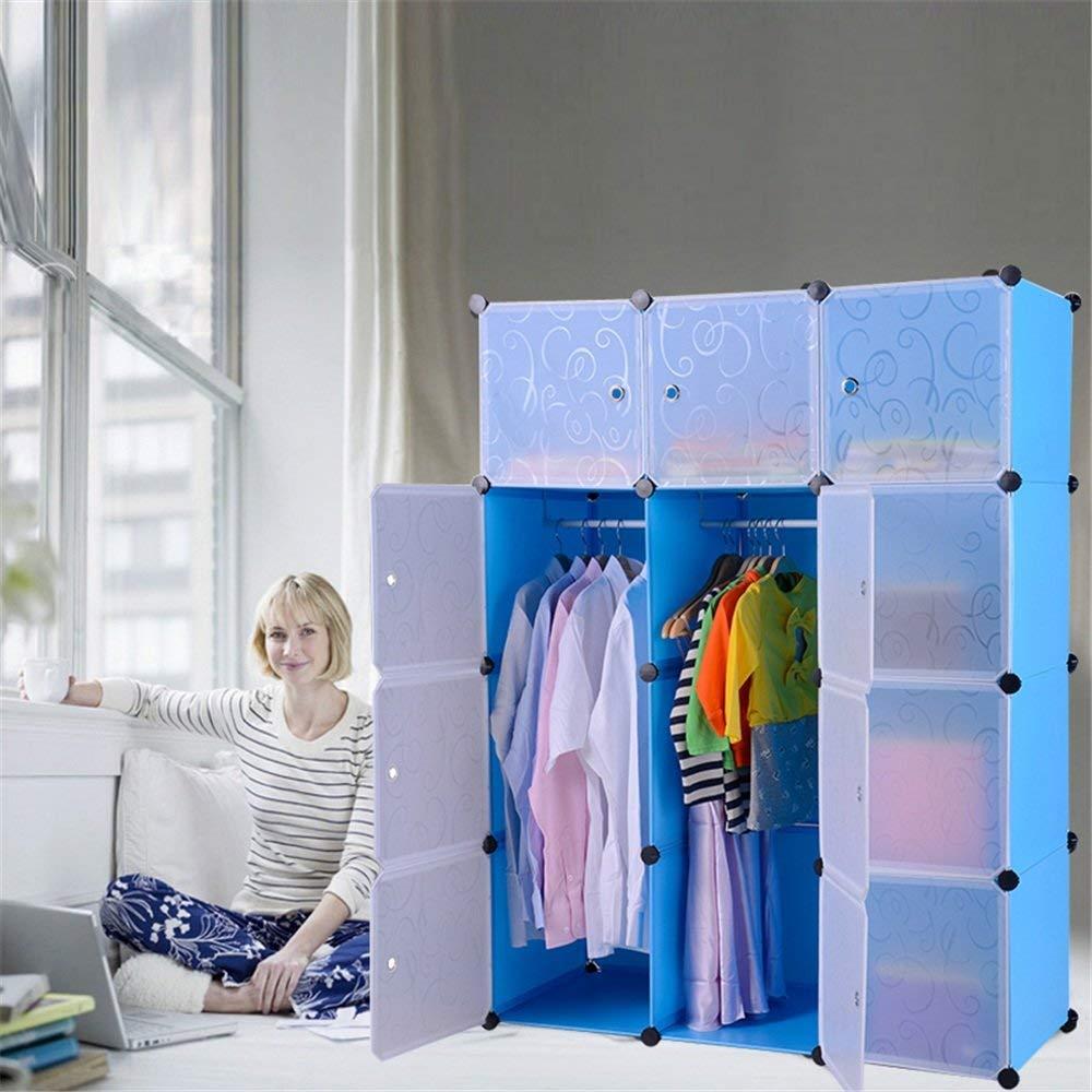 Kleiderschrank aus Kunststoff DIY Regalsystem Garderobenschrank Steckregalsystem Garderoben Steckregal Aufbewahrung, 12 Würfeln mit Türen, Blau 4