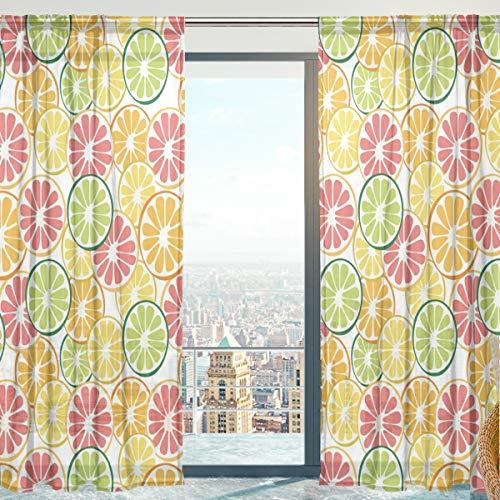 2 Stück Zitrone (Mnsruu Frucht-Zitrone Vorhang transparent Gardine 2 Stücke Gaze paarig schals Fensterschal Vorhänge für Wohnzimmer Schlafzimmer 198 cm x 140 cm(H x B) 2er-Set)