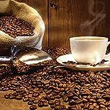 Artland Qualitätsbilder I Glasbilder Deko Glas Bilder 30 x 30 cm Ernährung Genuss Getränke Kaffee Foto Braun B2XR Tasse Leinensack Kaffeebohnen