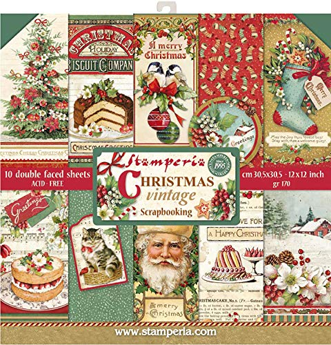 "STAMPERIA SBBL45 Papierblock 10 Blätter doppelseitig Christmas Vintage, Mehrfarbig, 30.5 x 30.5 (12\"" x 12\"")"