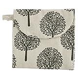 Leinen Quadratische Form Baum Muster Damenbinde Tasche Geldbörse Beige Schwarz