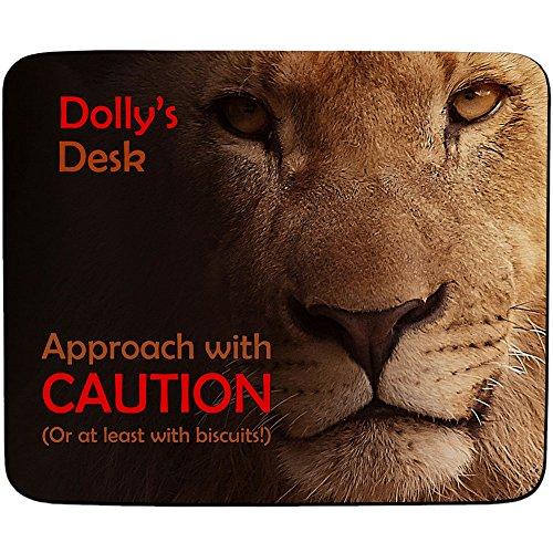 Dolly'Schreibtisch-Ansatz mit Vorsicht Löwen-Design, personalisierbar, Name und 5 Premium-Mauspad mm Dicke) (Schreibtisch Dolly)