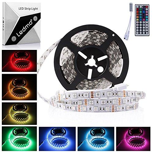 LEDMO Bande Lumineuse LED ,DC12V SMD 5050 Ruban LED ,IP20 RGB Ruban LED , 300LEDs ,Pack de 5M(16.4 ft) ,IR boîtier de commande à distance,[Classe énergétique A]