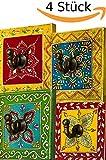 4 Stück Vintage Garderobe Kleiderhaken Istari Bunt 10cm groß 1er Haken | Hakenleiste Wandhaken für die Wand oder Tür | Kleiderhakenleiste Garderobenhaken aus Holz | handtuchhaken im Bad oder Küche