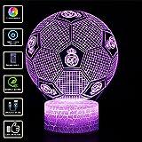 3D Illusion Lampe NHSUNRAY 7 couleurs Changement Optique Tactile Lumière USB et Télécommande Art Déco Faites Une Ambiance Romantique cadeau d'anniversaire de Noël Saint Valentin (Real Madrid football)
