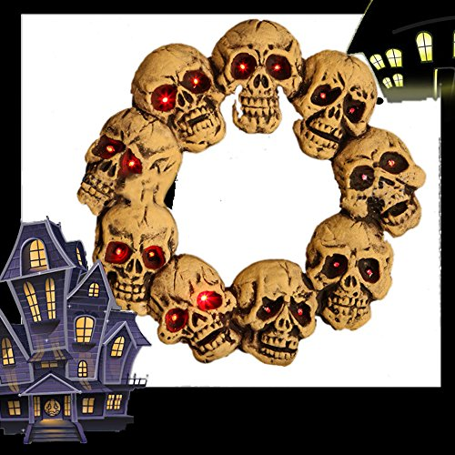 Halloween-Schädel-Kranz 46x46x5CM Spook Light Up Schädel Türkranz Halloween (Halloween Kränze)
