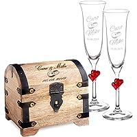 Casa Vivente - Set Cadeau pour Le Mariage - 2 flûtes à Champagne et Coffre d'argent avec Gravure - Personnalisé avec…