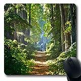Tapis de souris Parcours de sentier verdoyant en forêt Matin dans la brume Nature Parcours Chemin des troncs d'arbres Bois Design Antidérapant Tapis de souris Tapis de souris en caoutchouc Tapis oblon...